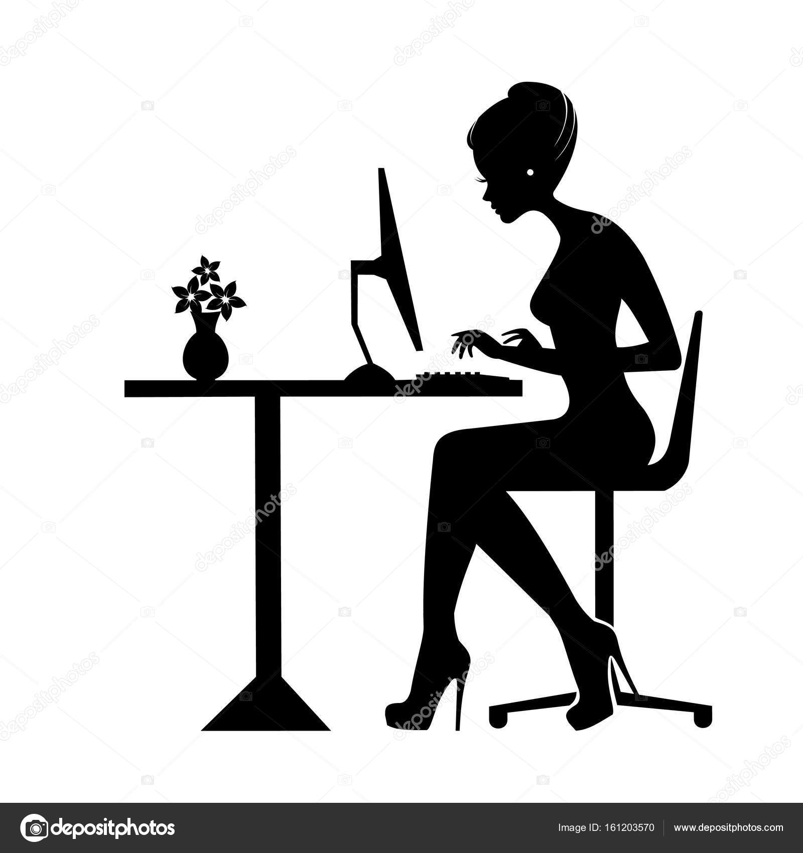 1600x1700 Black Silhouette Of A Woman Sitting Behind A Computer Icon, Vector