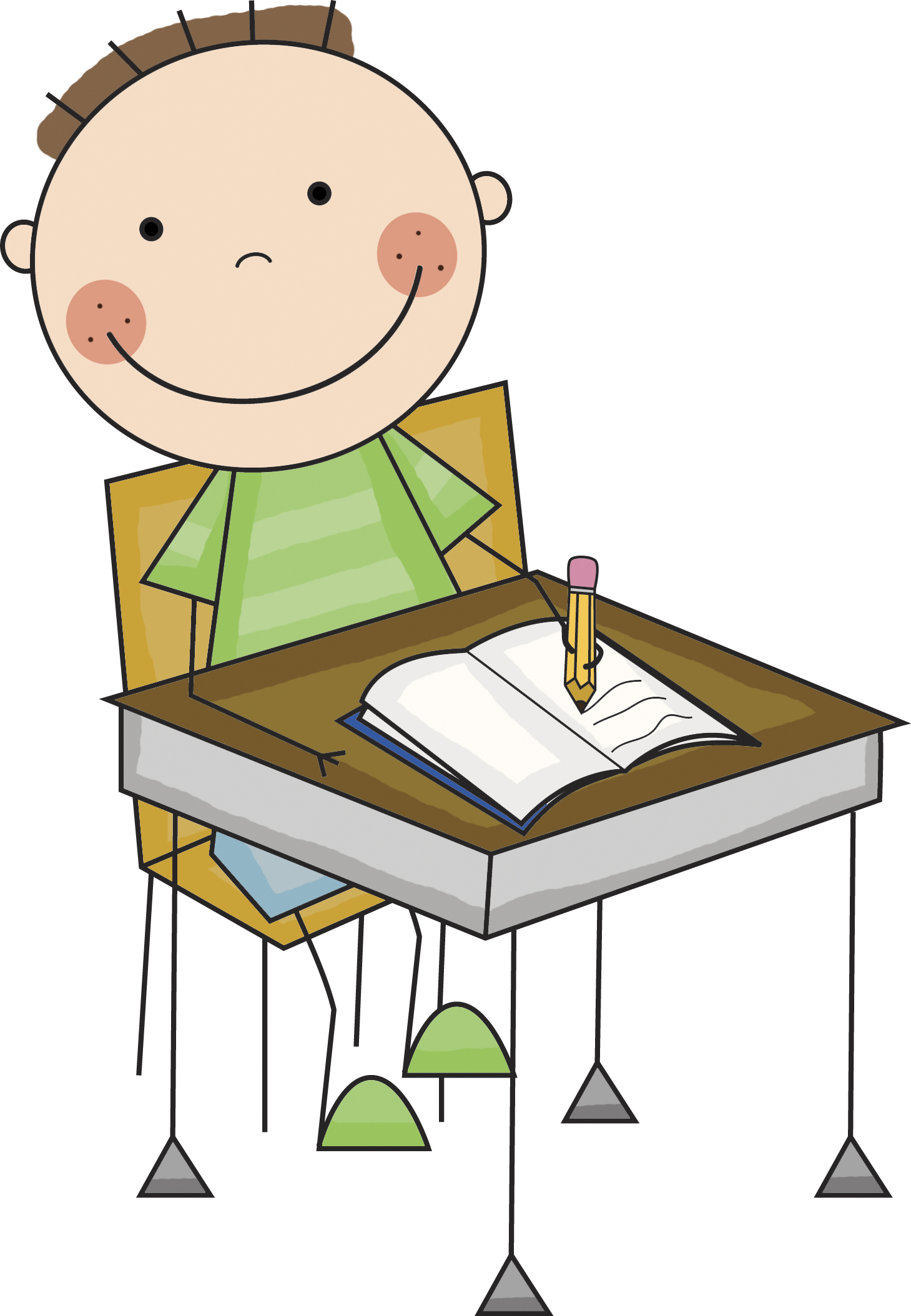 1459x2108 Stick People Student Desk Clipart
