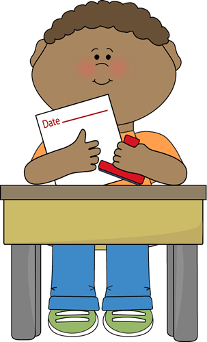 303x500 Student At Desk Clipart