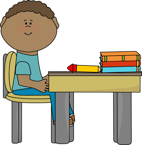 550x561 Student Sitting At Desk Clipart