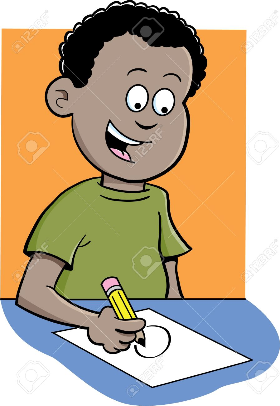 898x1300 Student Writing At Desk Clipart