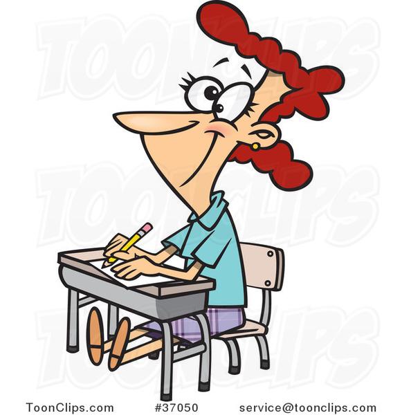 581x600 Cartoon Life Long Female Student Sitting