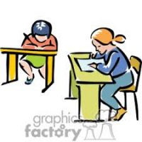 200x200 Student Working At Desk Clipart