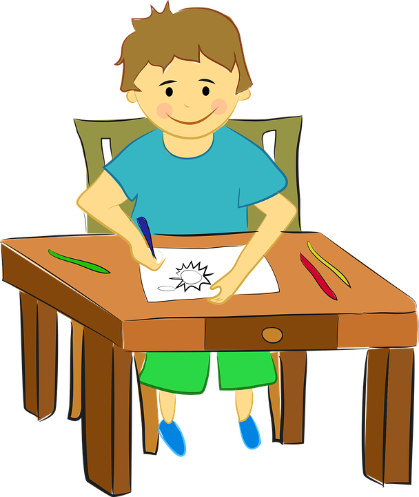 608x720 Child Sitting At Desk Clipart