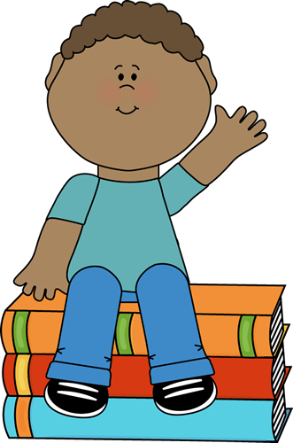 331x500 Boy Sitting On Books And Waving Clip Art