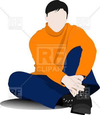 349x400 Young Man (Student) In Casual Clothing Sits On The Floor Royalty