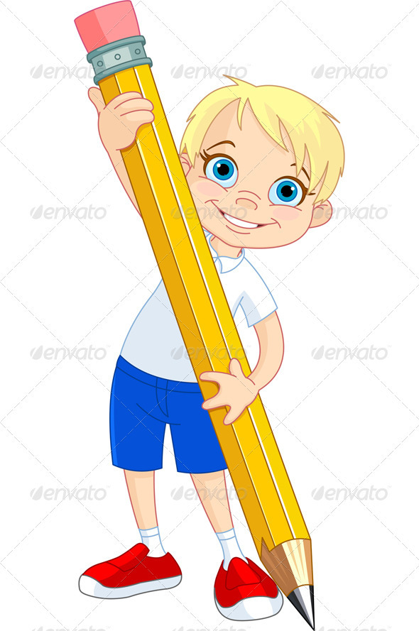 590x889 Boy holding pencil Art clipart, Clip art and Fonts