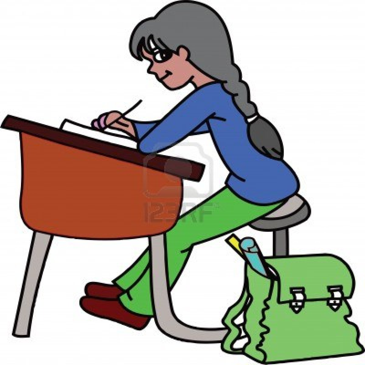 1200x1200 Student Working Hard Clip Art
