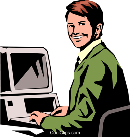 454x480 Student Working On Pc Royalty Free Vector Clip Art Illustration