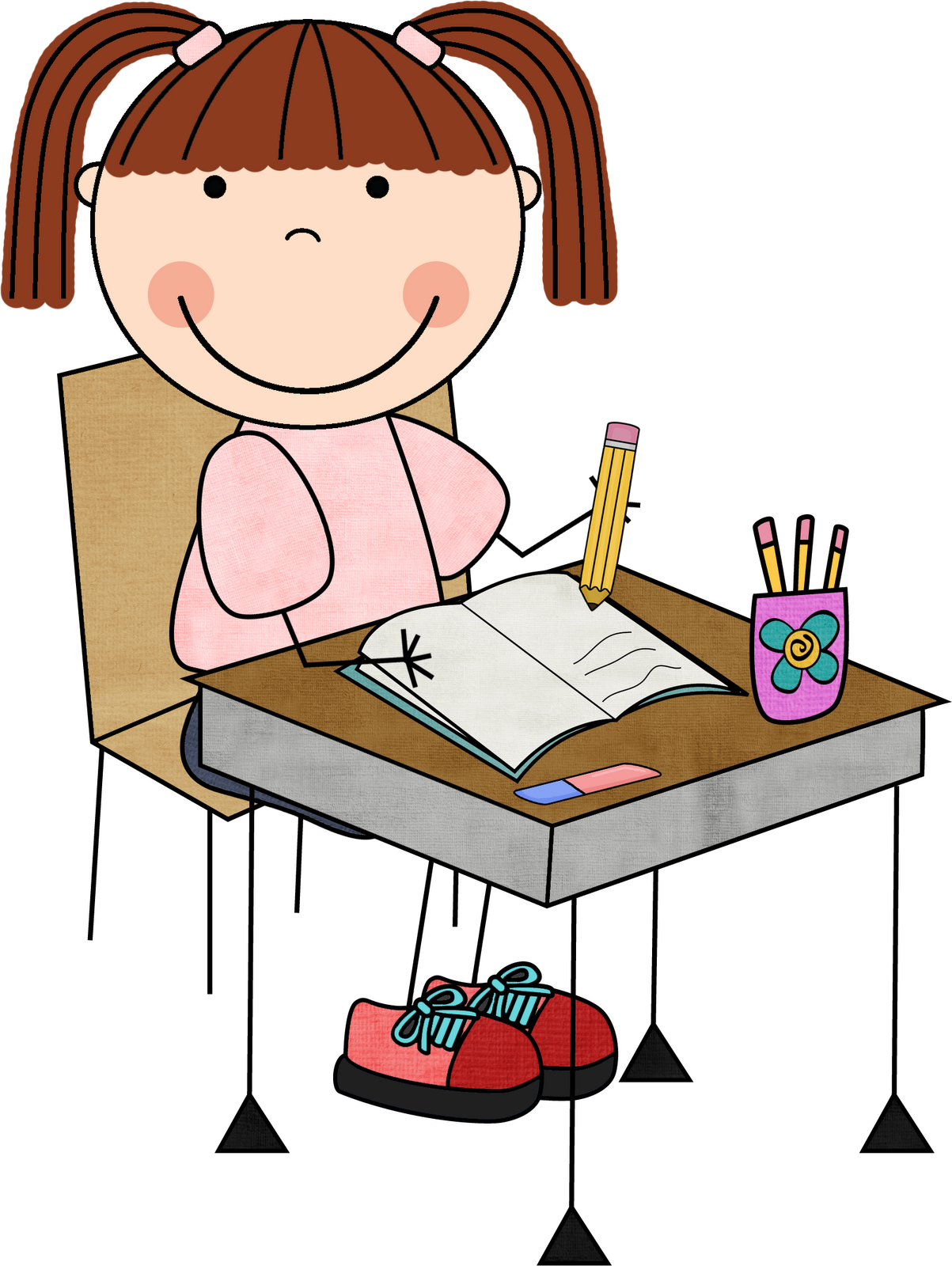 1203x1600 Girl Student Working Clipart Clip Art Library