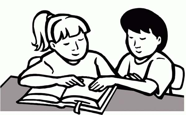 Free Reading Clipart Black And White: Students Clipart Black And White