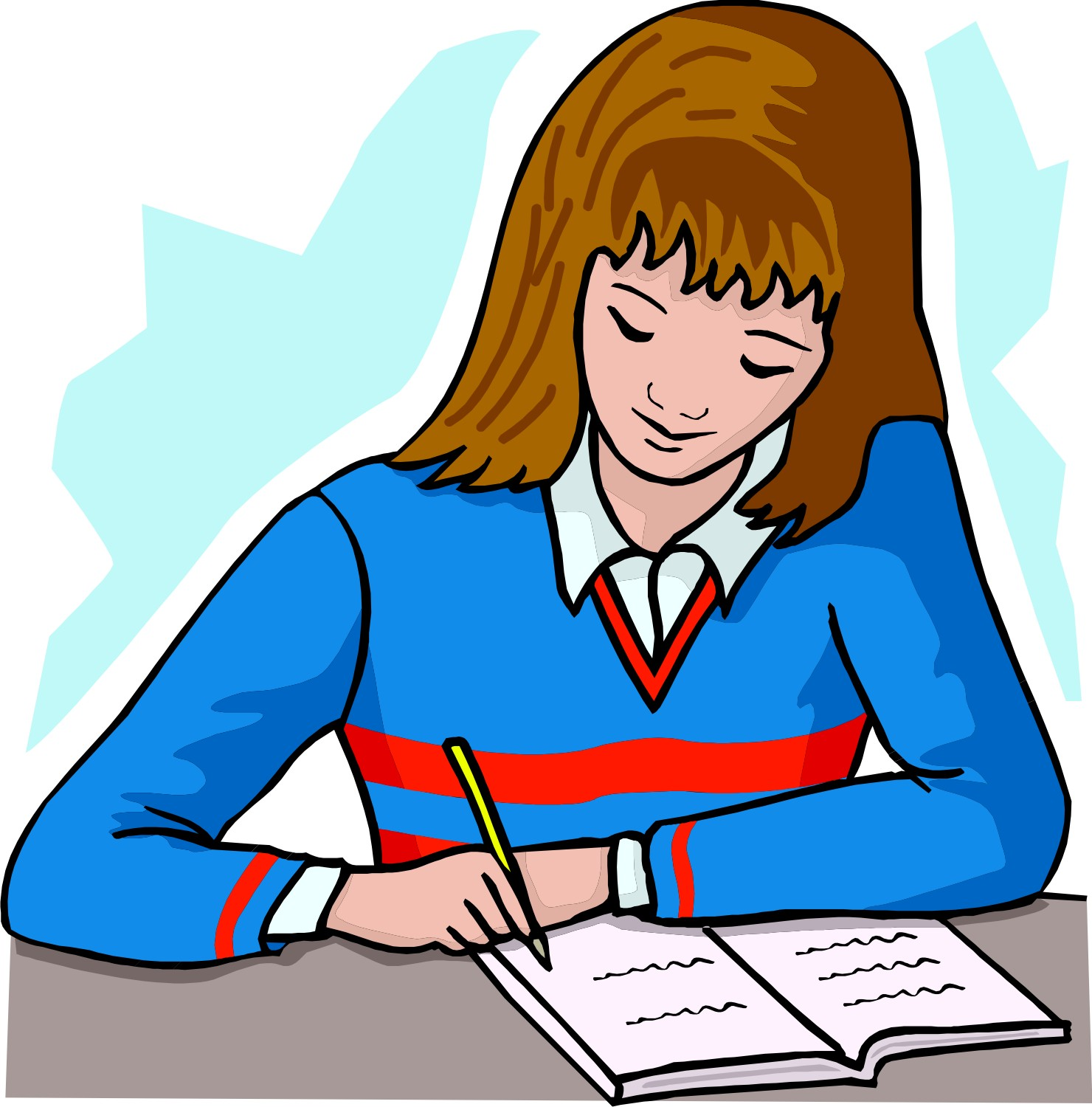 1480x1500 Students Writing Clipart