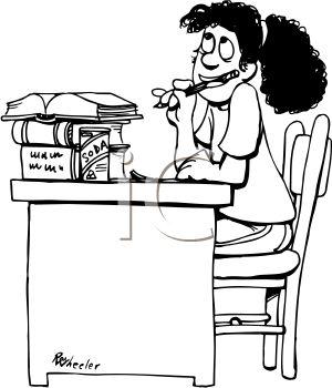 300x350 Black And White Cartoon Of Schoolgirl Doing Homework Royalty Free