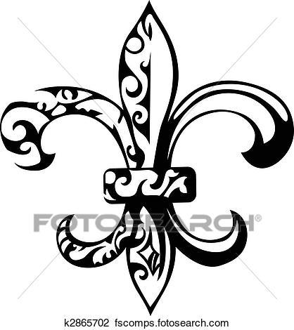 418x470 Clipart of Fleur De Lis, New Orleans k5625423