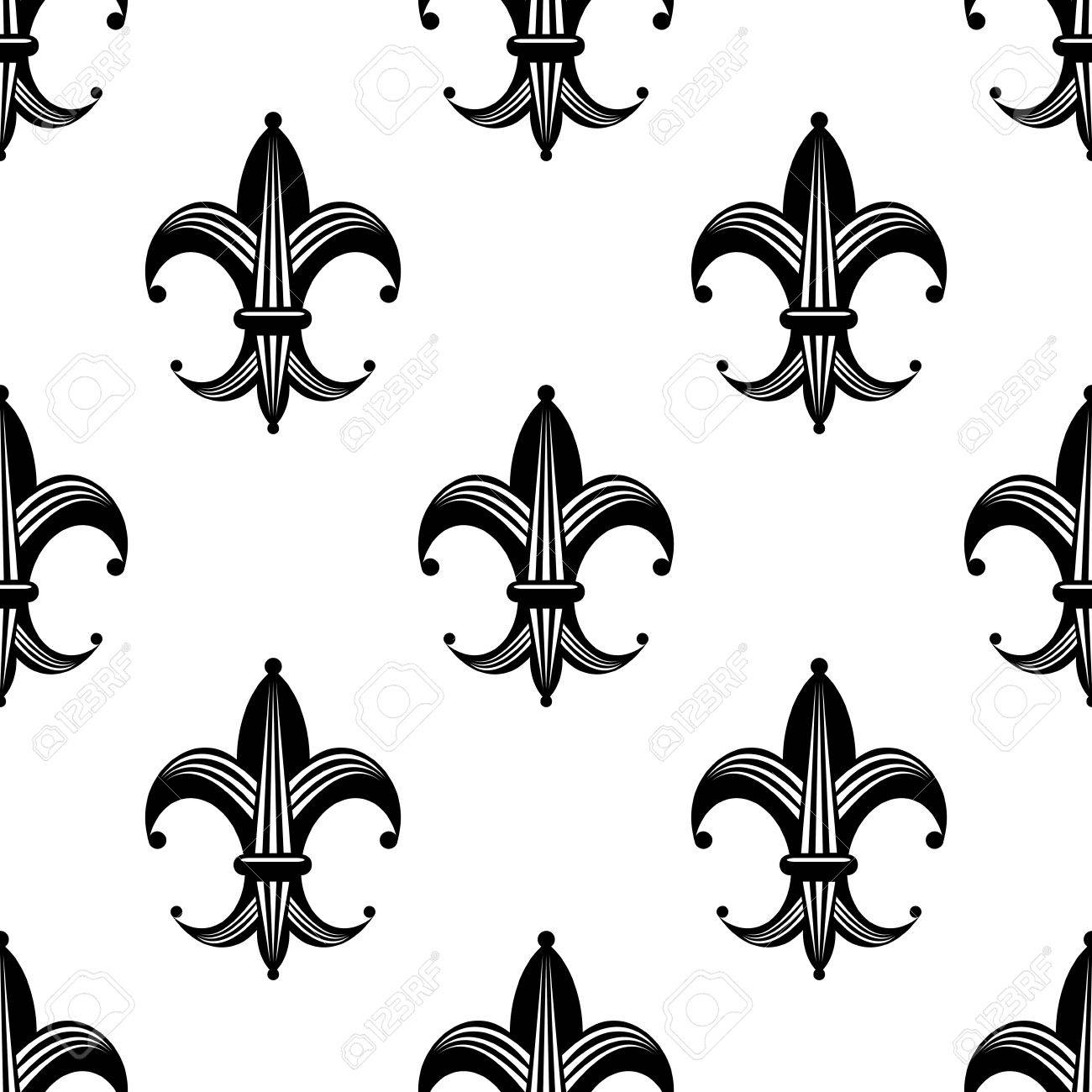 1300x1300 Seamless Black And White Stylized Fleur De Lys Pattern With An