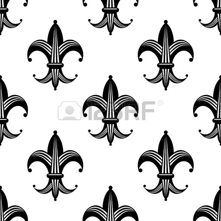 450x450 Seamless Bold Stylized Fleur De Lys Pattern With A Repeat Black