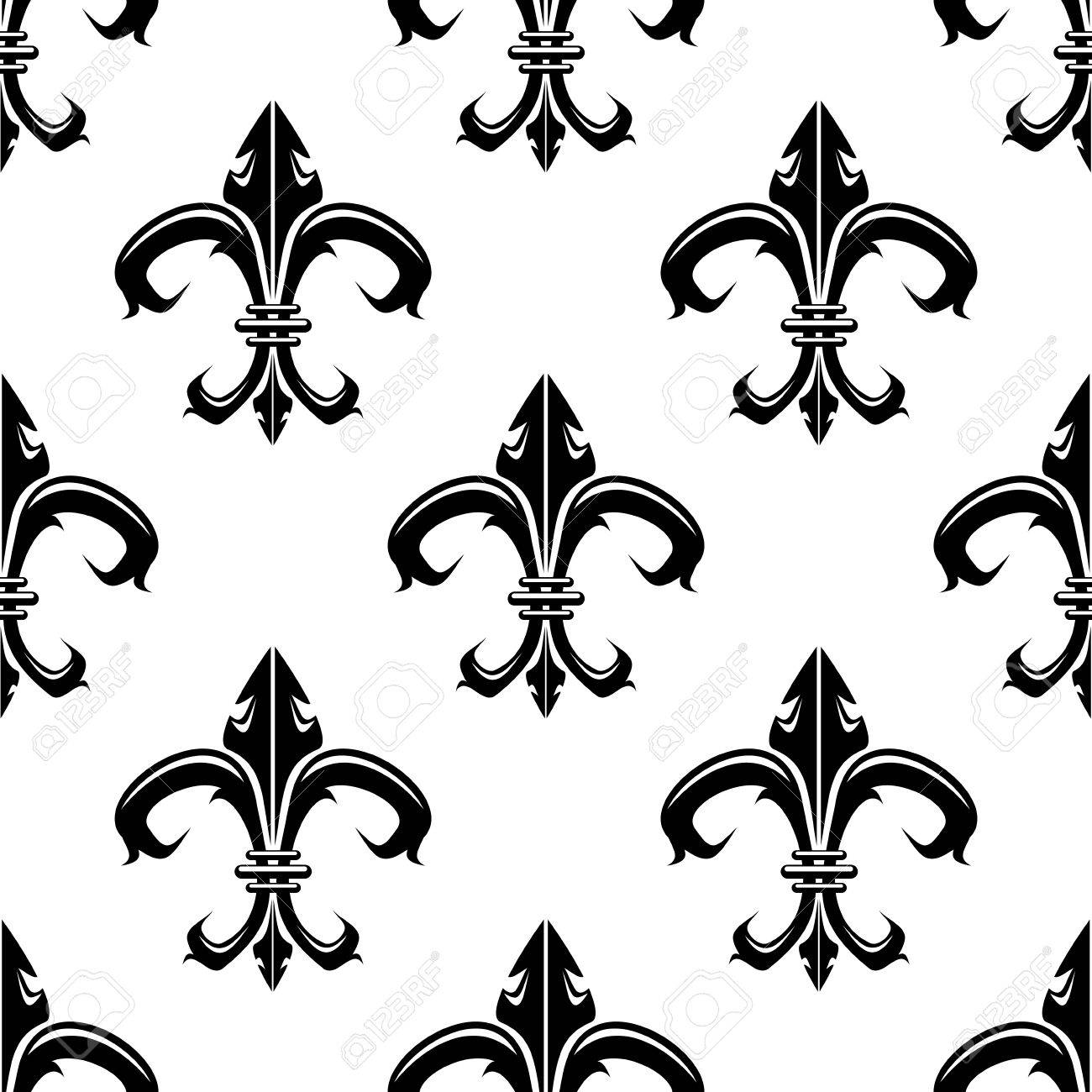 1300x1300 Classical French Black And White Fleur de lis Seamless Background