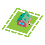 150x150 American Suburban House With Garage Royalty Free Vector Clip Art
