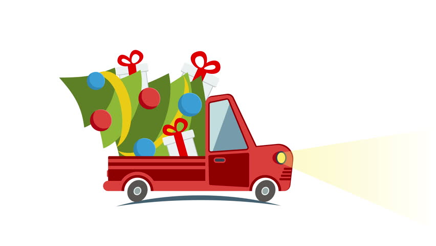 852x480 Cartoon Car Driving On A Suburban Road At Night. Red Car Rides