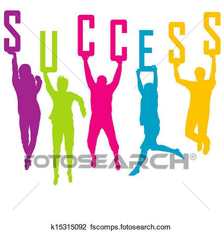 450x470 Clipart Of Success Representation With Colored People Silhouettes