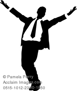 256x300 Royalty Free Clipart Image Silhouette Of A Happy Businessman