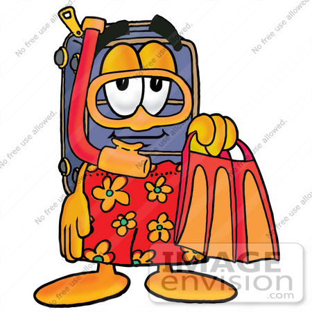 450x450 Clip Art Graphic Of A Suitcase Luggage Cartoon Character In Orange
