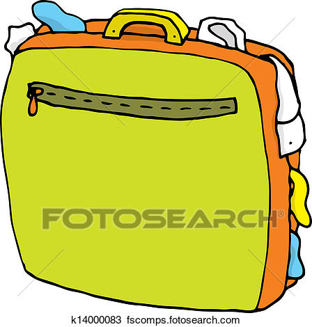 448x470 Clipart Of Cartoon Suitcase Full Overweight Luggage K14000083