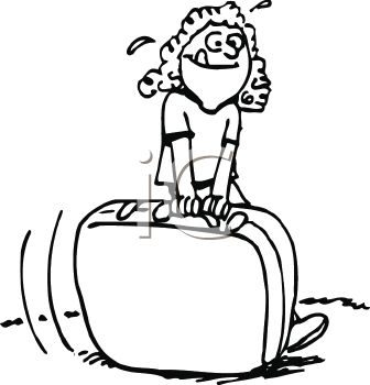 336x350 Royalty Free Clipart Image Black And White Cartoon Of A Girl
