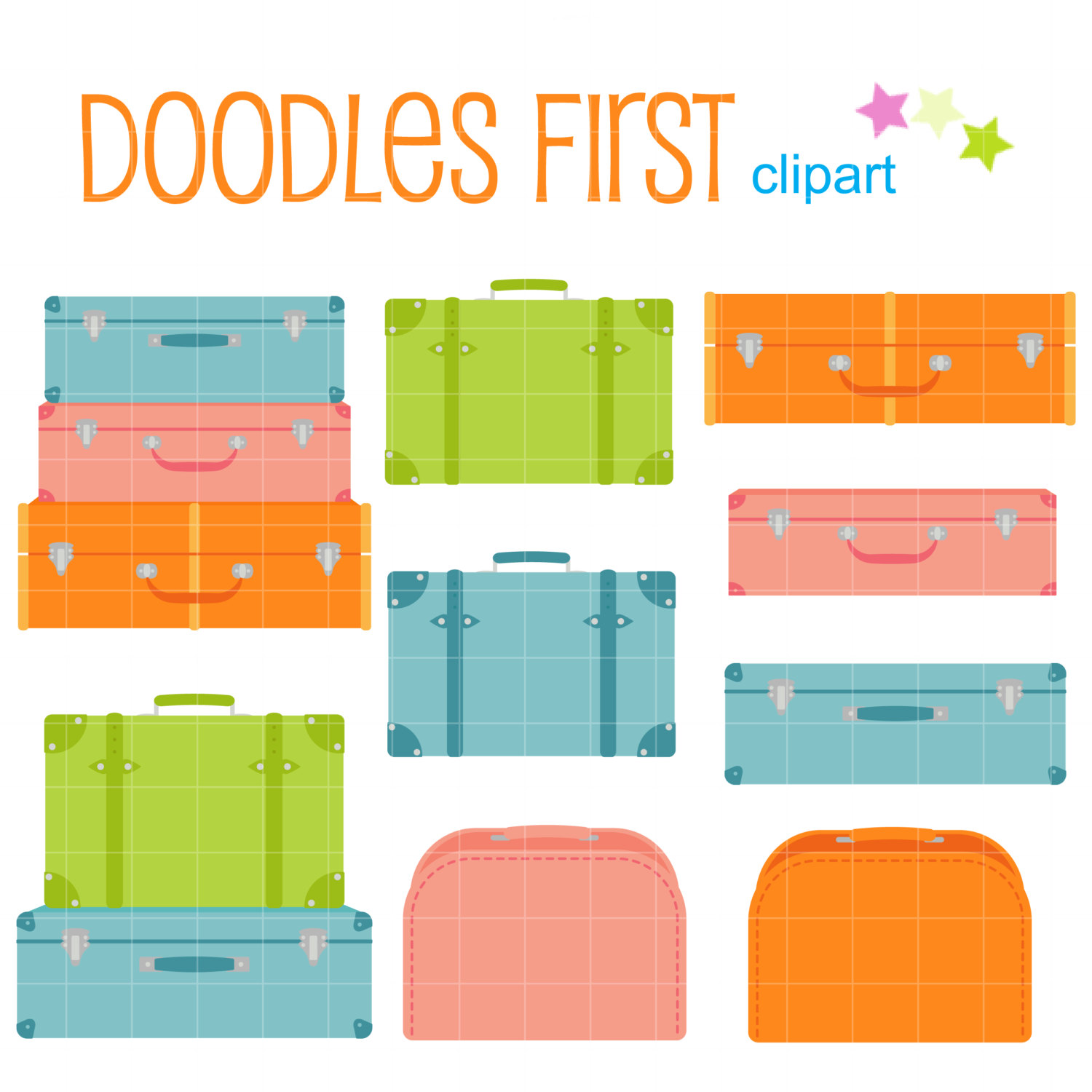 1500x1500 Cute Suitcases Digital Clip Art For Scrapbooking Card Making