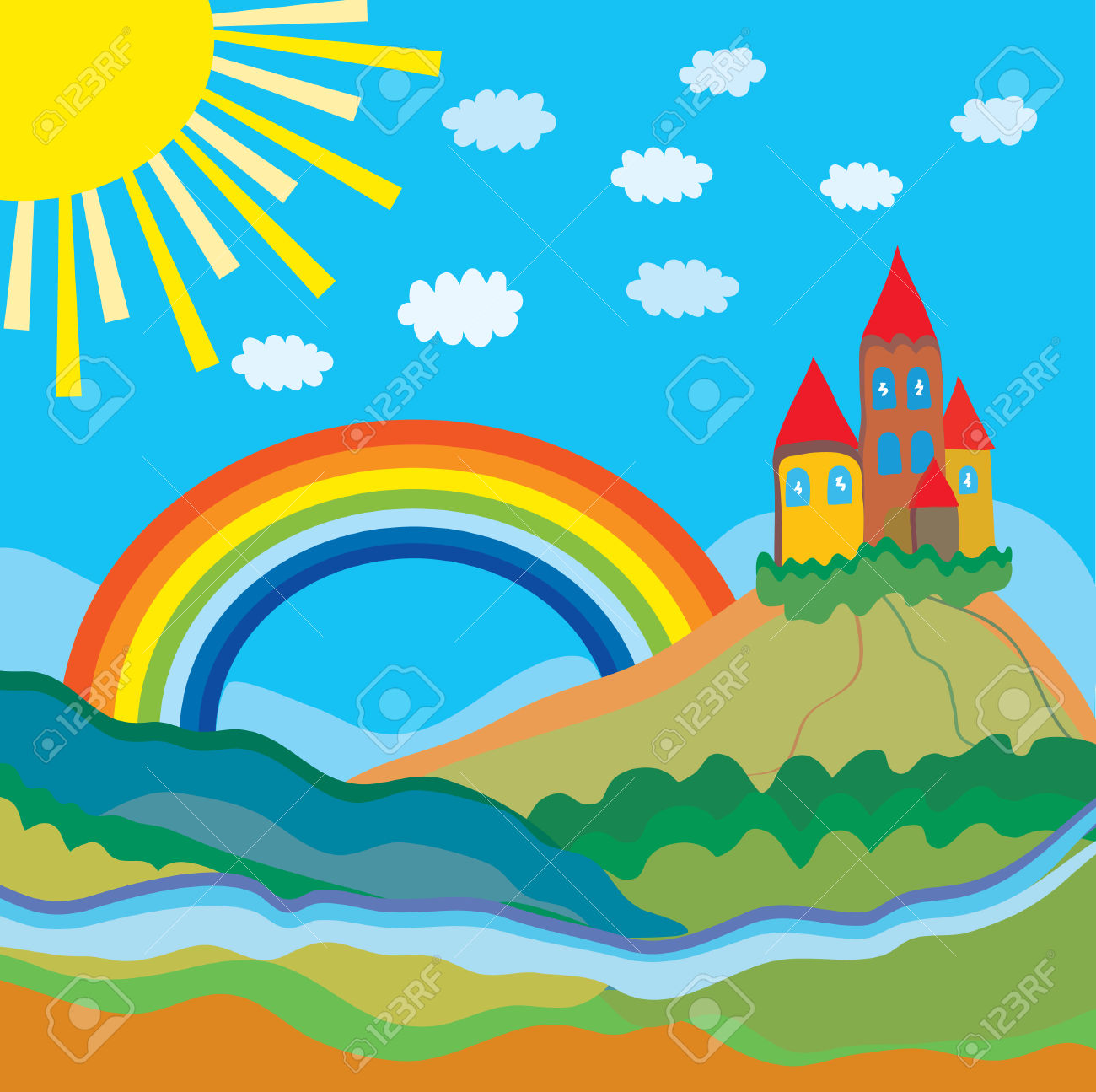 1300x1295 Rainbow Scenery Clipart Amp Rainbow Scenery Clip Art Images