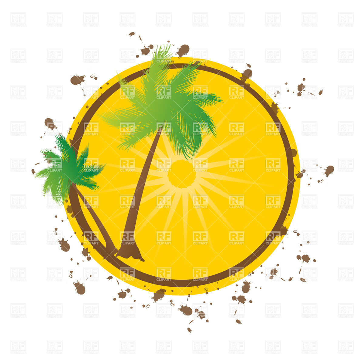 1200x1200 Summer Background With Grunge Palms Royalty Free Vector Clip Art