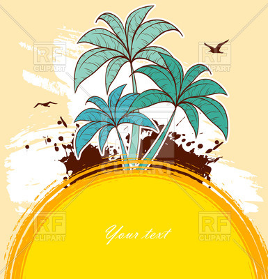 385x400 Summer Background With Palm Trees And Sun Royalty Free Vector Clip