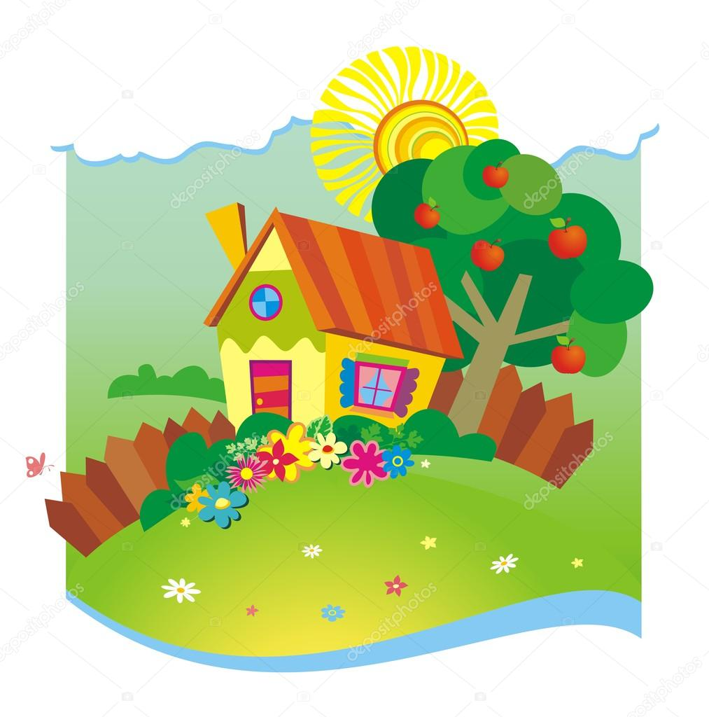 1013x1024 Summer Background With Small House Stock Vector Aml Rada