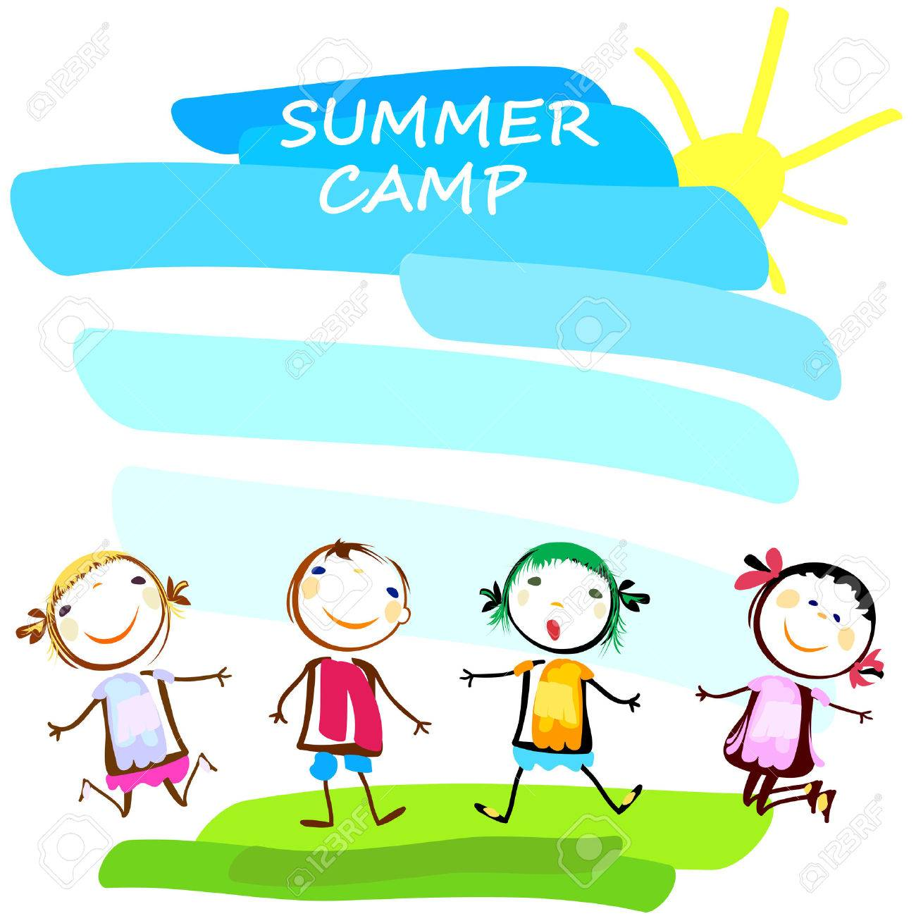1300x1300 Summer Camp Poster With Happy Kids Royalty Free Cliparts, Vectors