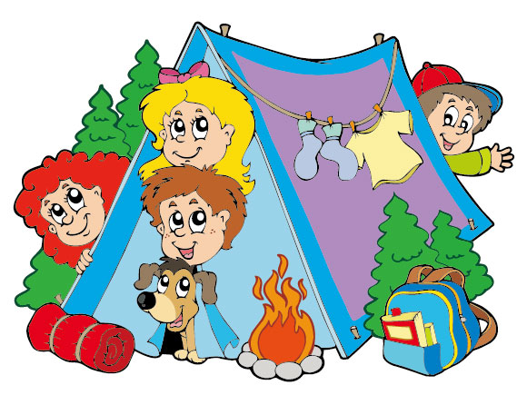 580x435 Cartoon Summer Camp Elements Illustration Vector 02