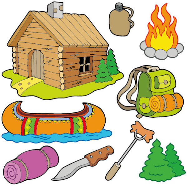 600x599 Camper clipart kids camp