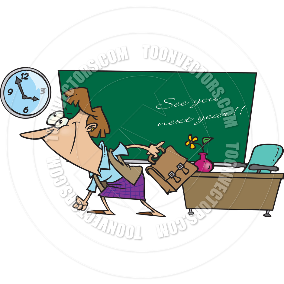 940x940 Cartoon Teacher Summer Vacation by Ron Leishman Toon Vectors EPS