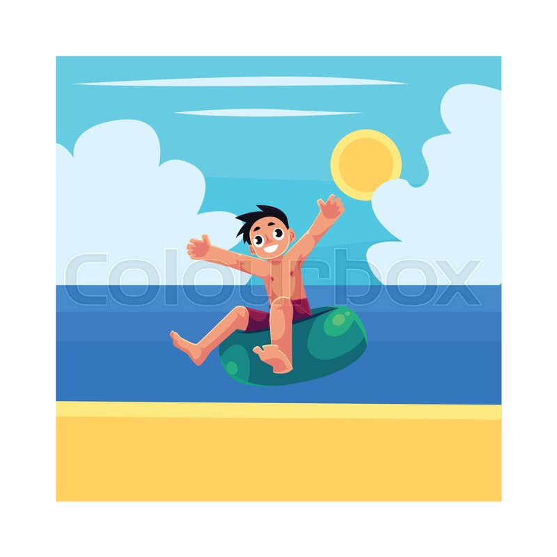 800x800 Kid, boy, child riding swim ring, enjoying summer water activities