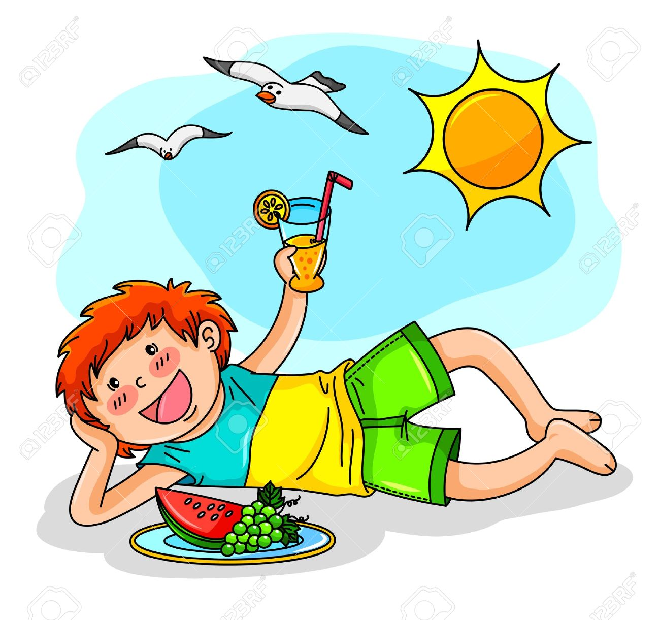 1300x1221 Kid Enjoying Summer With Fruit And Juice Royalty Free Cliparts