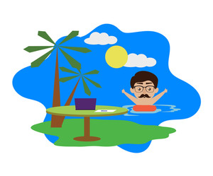 300x249 Little boy enjoy summer on the beach illustration Royalty Free