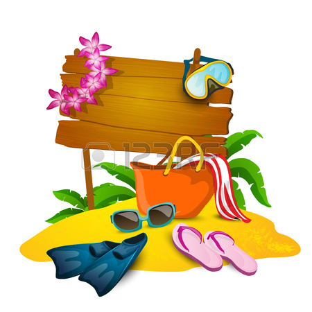 450x450 Beach And Summer Cartoon Background With Slippers Bag And Sand