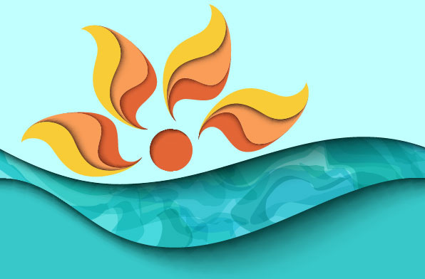 596x392 Summer and cartoon waves background vector Free vector in