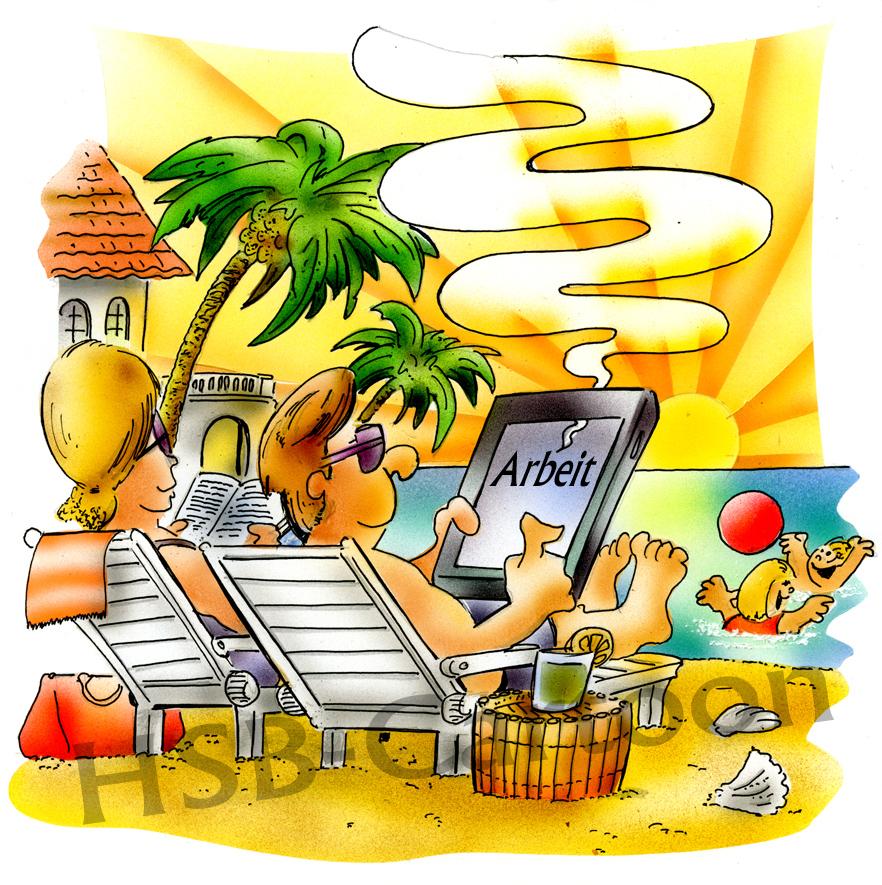 882x885 Cartoon Arbeiten Im Urlaub