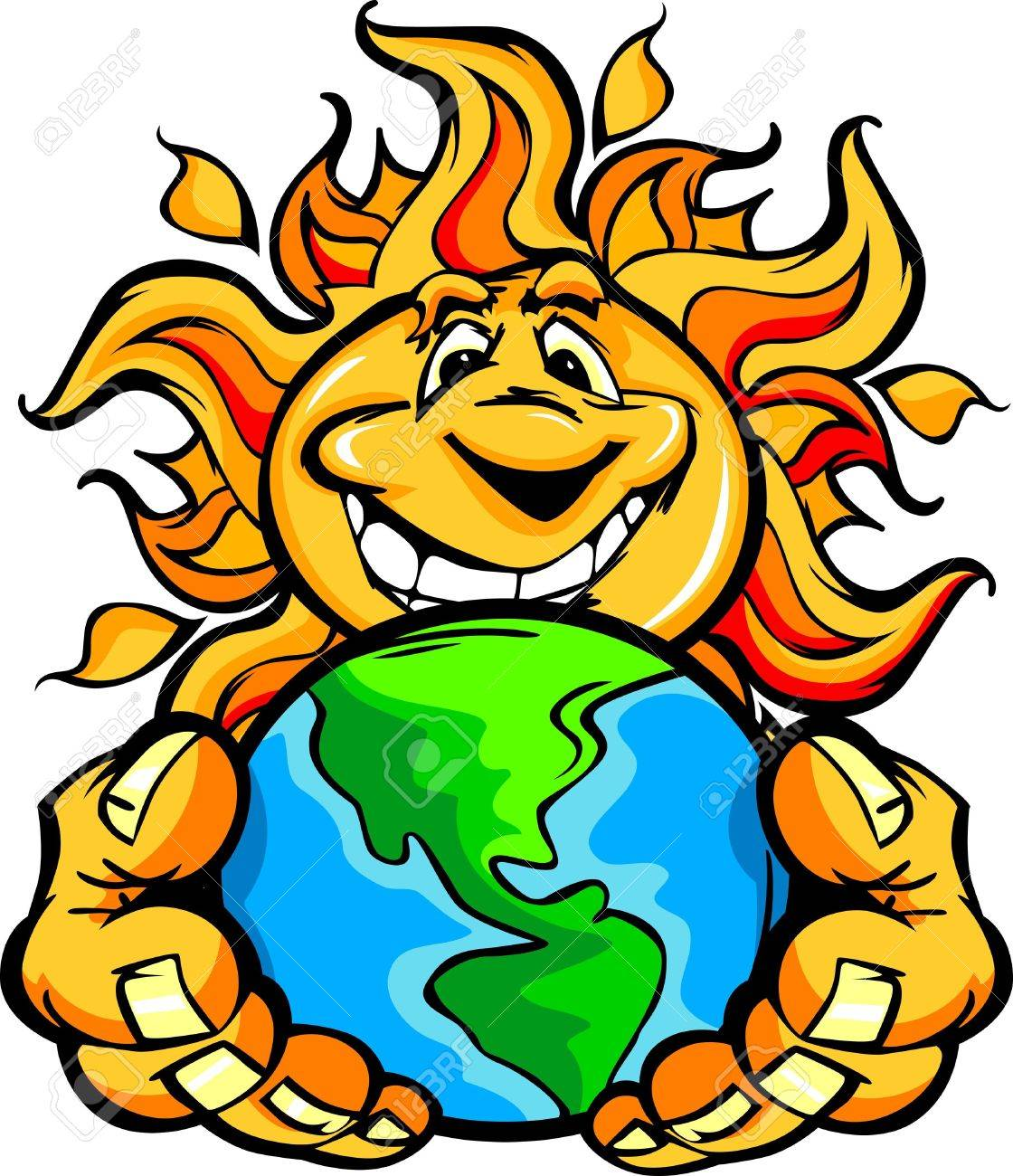 1120x1300 Cartoon Illustration Of A Happy Smiling Summer Sun Holding Earth