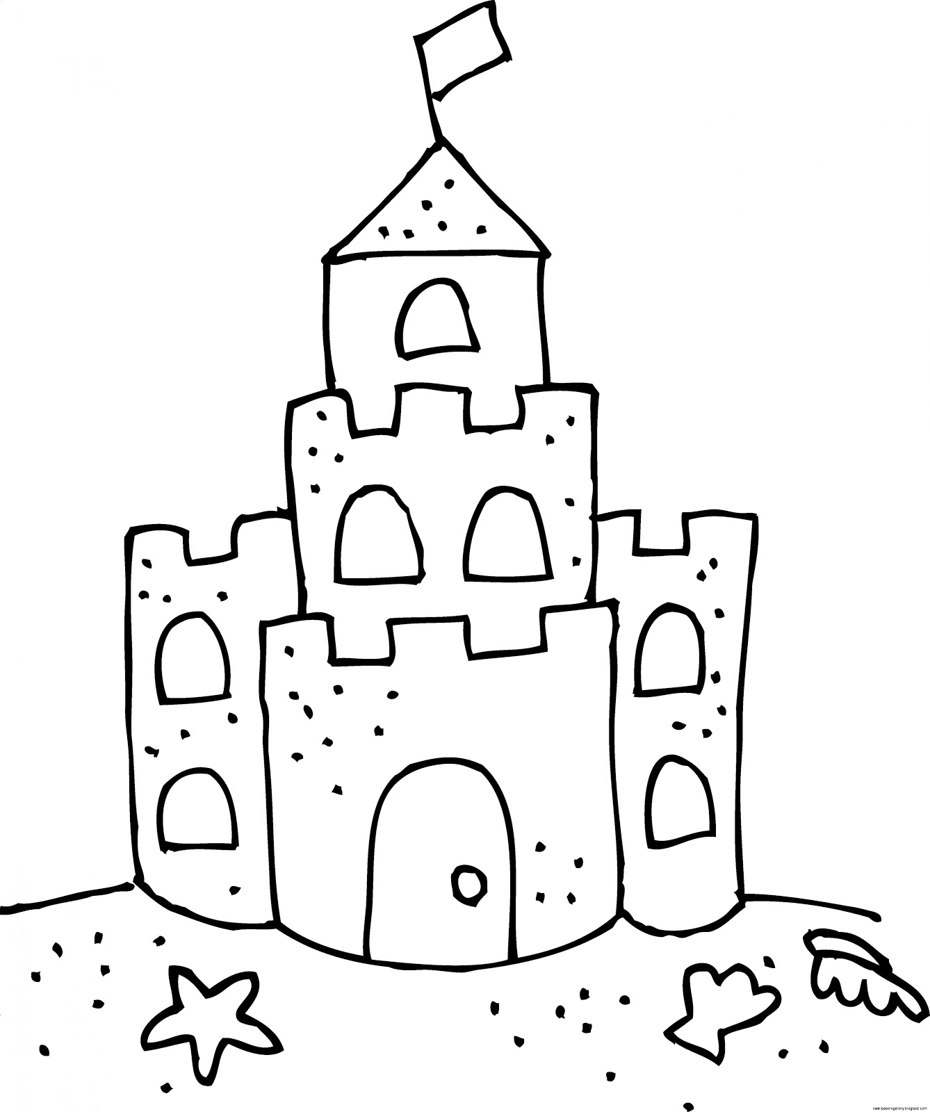 1338x1600 Sand Castle Clipart Black And White