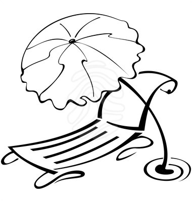 380x400 Summer Scene Black And White Clipart