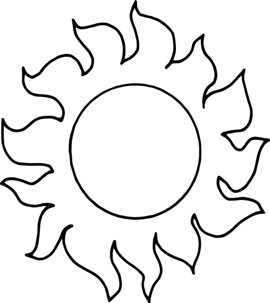 534x600 Sun Clipart Black And White