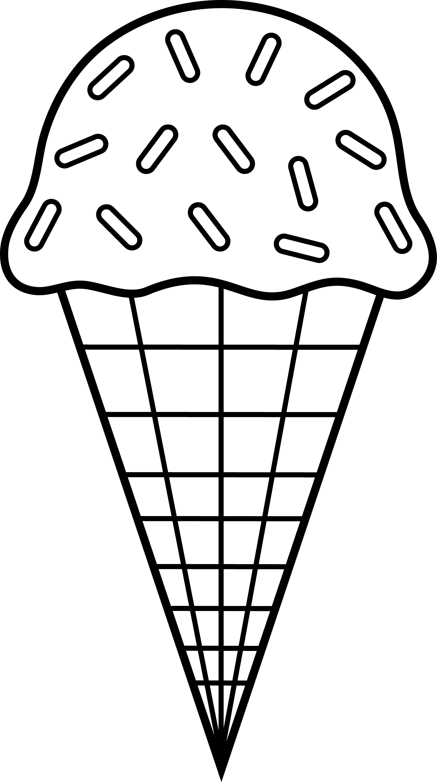 1783x3192 Waffle Cone Clipart Black And White