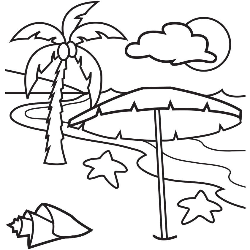 842x842 Beach Black And White Beach Coloring Clipart