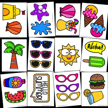 350x350 Summer Photo Booth Props {Made By Creative Clips Clipart} Tpt